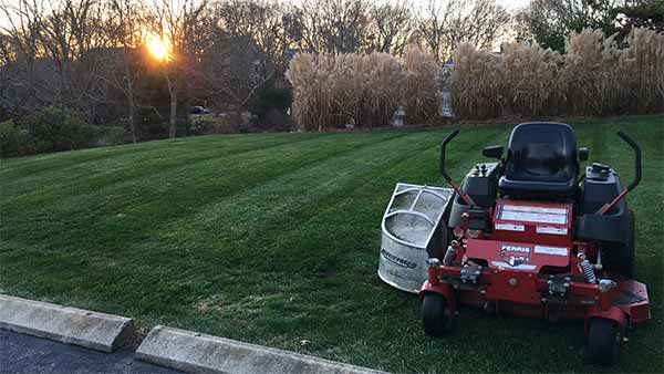 Lawn mower at sunset in Westerly, RI.