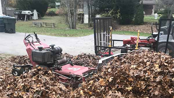 Leaves being removed at a Hopkinton, RI property.